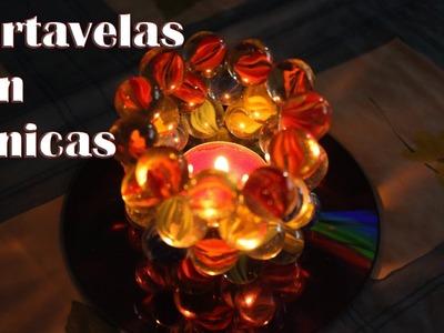 Lámpara de canicas, portavelas con canicas - Manualidades Fáciles