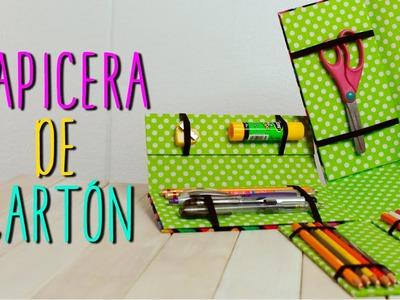 Lapicera de Cartón ♥  - DIY Estuche para Lapices. Regreso a Clases - Cartonaje