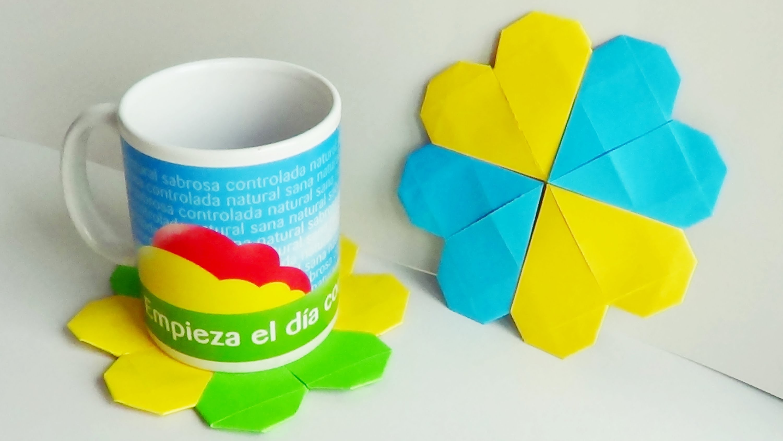 Corazón Posavasos de Papel - Origami Modular