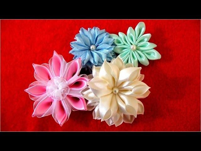 Flores  Kanzashi hermosas  en cintas Tips 11 acabados