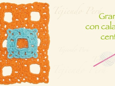 Granny con calado cuadrado central tejido a crochet