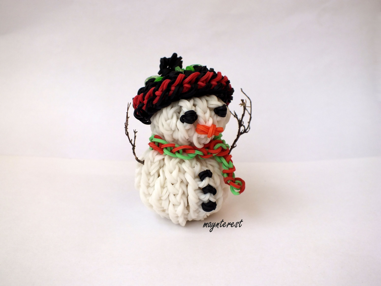 Muñeco de nieve 3D de gomitas SIN TELAR   Snowman 3D charm NO LOOM   Navidad Christmas