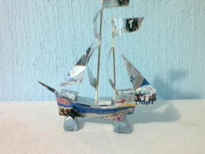 Barco hecho con latas de aluminio tutorial