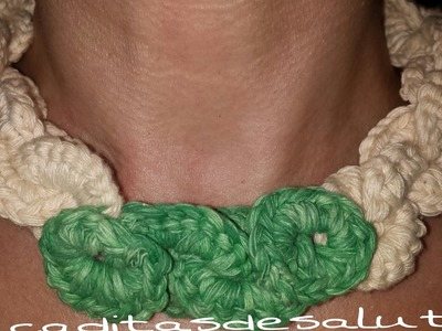 Collar de ganchillo tejido. DIY Crochet chain necklace.