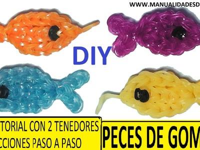 COMO HACER PECES DE GOMITAS (LIGAS) CHARMS CON DOS TENEDORES. (FISH CHARM) TUTORIAL DIY