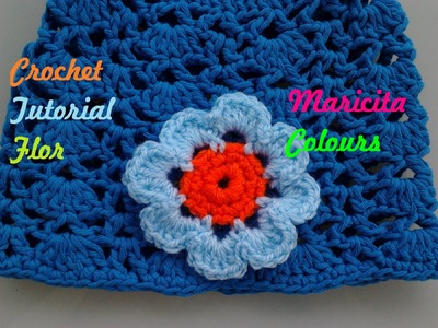 "Crochet Tutorial Flor ""Claudia"" decora diademas, Gorros por Maricita Colours"