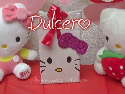Dulcero de Hello Kitty,Bolsita, (Material Reciclado)DIY Tutorial