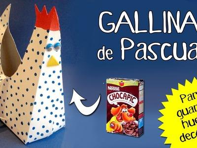 Gallina de cartón para huevos de pascua