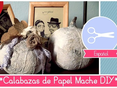 Manualidad de Halloween: Mini Calabazas Decorativas de papel mache Shabby and Chic