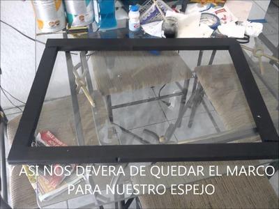 MARCO PARA ESPEJO CON MADERA RECICLADA MUY FACIL Y BONITO