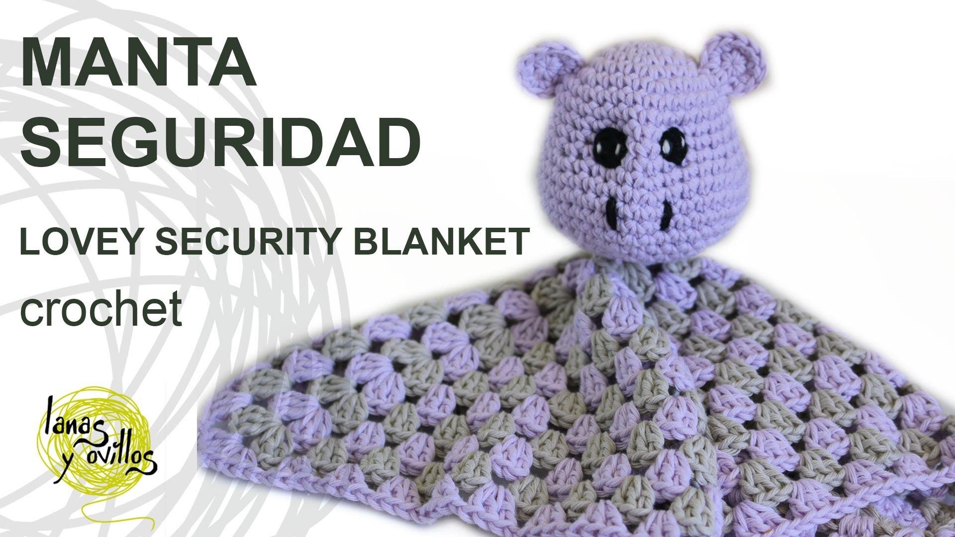 Tutorial Manta Seguridad Crochet o Ganchillo Lovey Hippo
