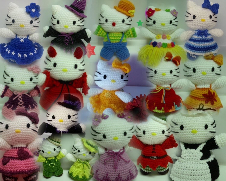 Tutoriales español muñecos crochet-ganchillo (amigurumi) (hello kitty, flores, . )