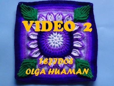"Colcha tejido a crochet muestra ""flor de 16 pétalos"" video 2"