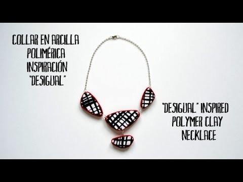 Collar en arcilla polimérica inspiración Desigual -  Desigual inspired polymer clay necklace