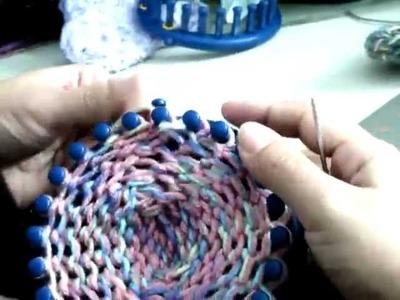 Como Empezar pantufla.calcetin x punta.telar azul parte2