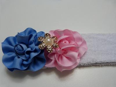 Crea accesorios faciles  para niñas con flores en cinta gross y raso