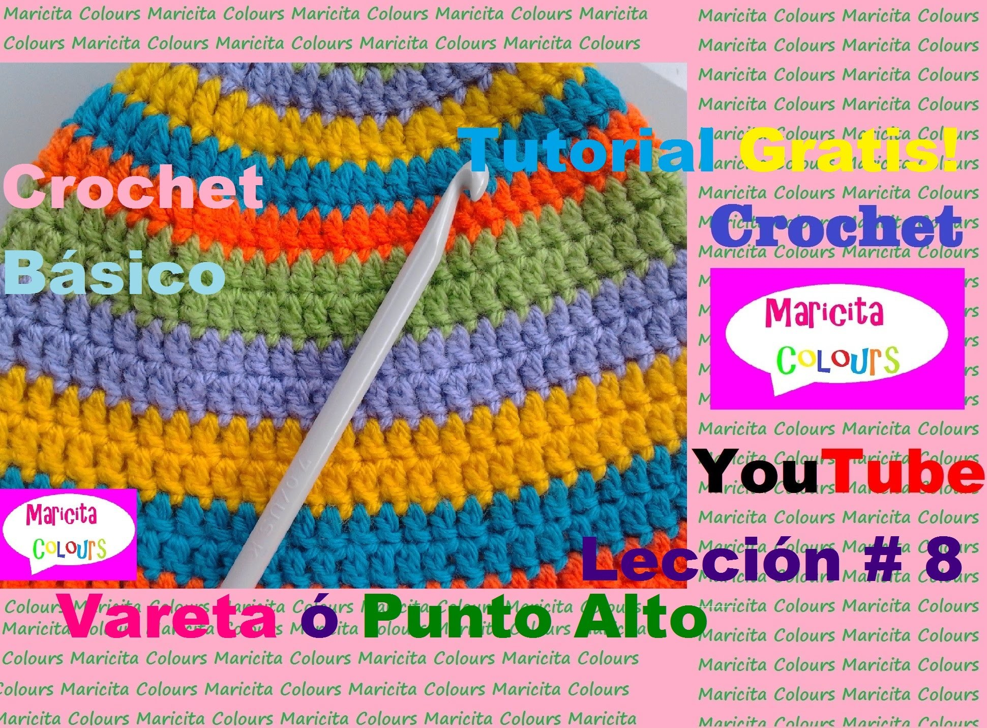 Crochet Básico (Lección 2) Punto Vareta Punto Alto  Double Crochet Subtitles  English & Deutsch