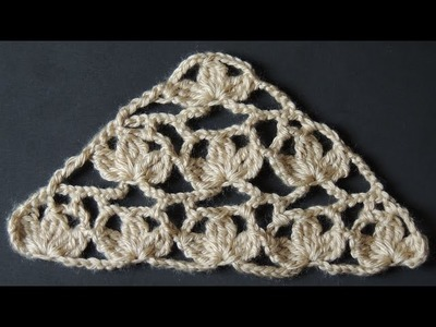 """Crochet : Punto Tres Hojas en """"V"""""""