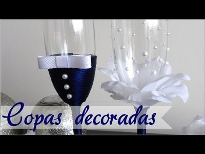DECORACIÓN DE COPAS PARA BODA - PRIMER BRINDIS