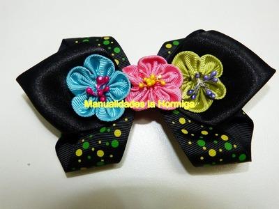 DIY flores miniaturas en cinta para decorar lazos, moños para el cabello