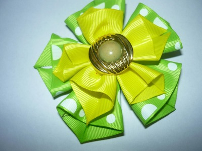 DIY HAIR ACCESSORIES  Flores dobles con cinta para el cabello No.054 Manualidadeslahormiga