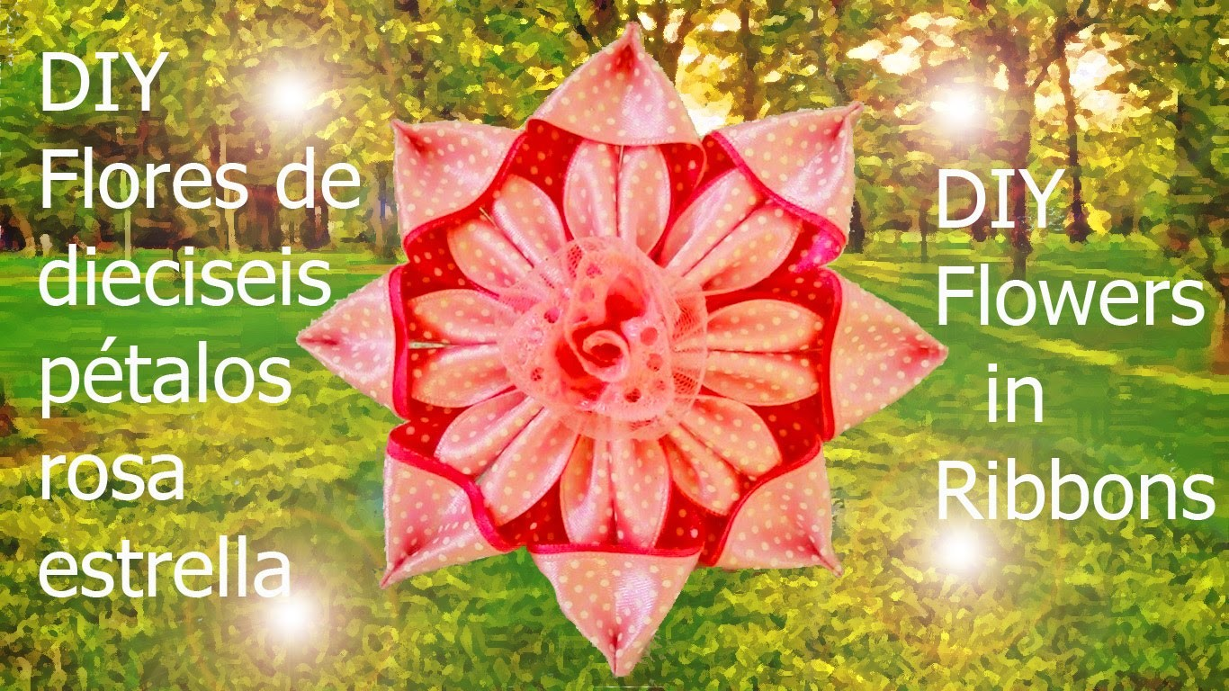 DIY Kanzashi flores de dieciséis pétalos rosa estrella en cintas flowers in ribbons