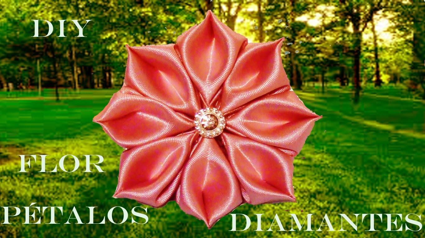 DIY Kanzashi flores pétalos de diamantes rosa en cintas- pink flower petals diamond ribbons