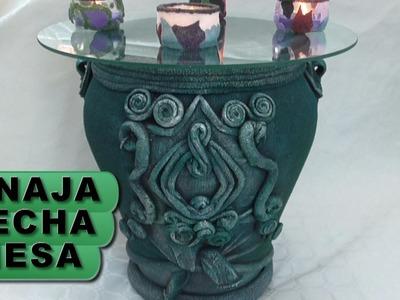 DIY TINAJA,JARRÓN, ORZA HECHA MESA - JAR CONVERTED INTO TABLE