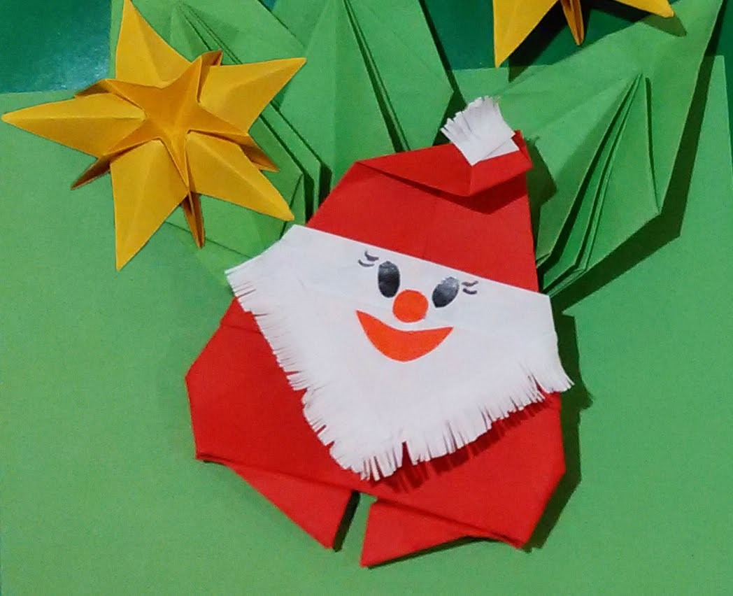 Easy to do Origami Santa Claus - Papai Noel de Origami. Paper Santa. Christmas room decorations.