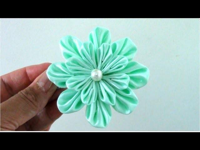 Flores flowers Kanzashi ribbons de 16 pétalos en cintas para el cabello