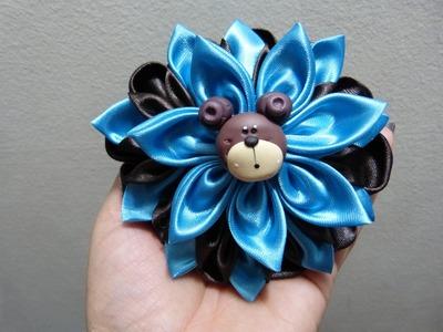 Flores Kanzashi  para moños del cabello paso a paso.flores grandes en tela - video 207