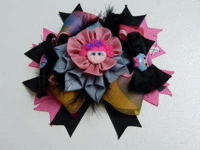 Lazo Boutique con flores kanzashi para el cabello de las Niñas. Hair bows kanzashi