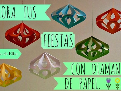 Manualidades, Cómo hacer Diamantes de Papel, Decoración Kirigami Fácil