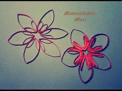 Manualidades. Estrellas.flores para decorar con rollos de papel higiénico