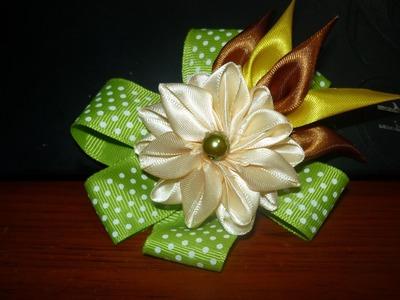 Moños decorados con flores kanzashi faciles No.098 Manualidades la hormiga