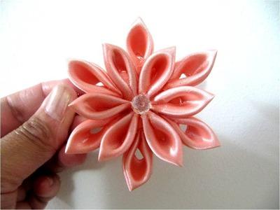 Moños en cintas para el cabello flor doce pétalos