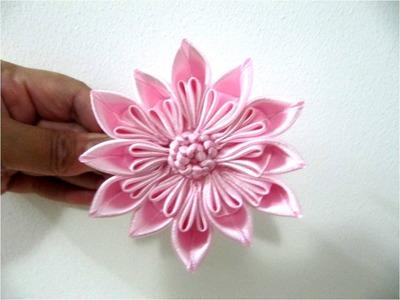 Moños para el cabello en cintas flor rosa estrella  de doce pétalos