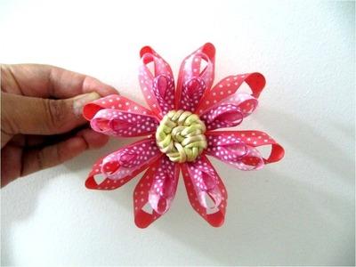 Moños para el cabello  flor tres capas en cintas con nudos