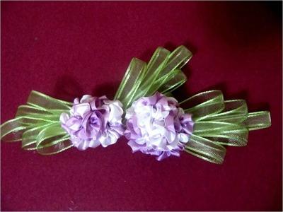 Moños  para el cabello flores pon pon de cintas
