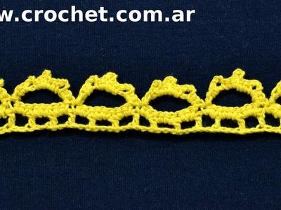 Puntilla N° 49 en tejido crochet tutorial paso a paso.