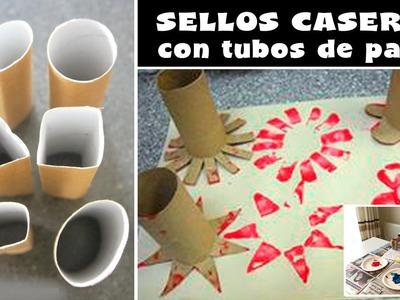 Sellos caseros con tubos de papel higiénico