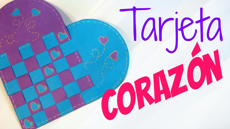 Tarjeta de corazón trenzado (San Valentín). Heart card.