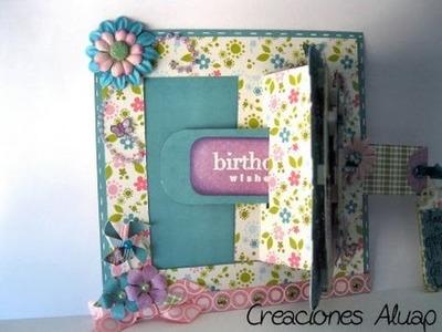 Tarjeta de Cumpleaños, Scrapbook y ventanita , diseño original y bonito