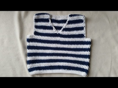 Tejer un chaleco de bebés - parte trasera en crochet - parte 1.4 by BerlinCrochet