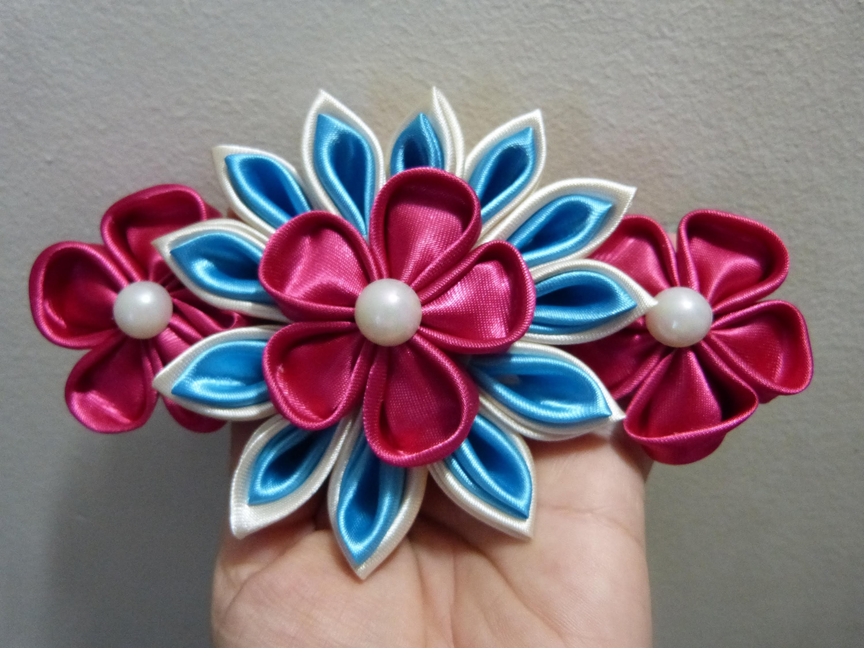 Turorial flores kanzashi para peinetas o moños grandes para decorar peinados video 212