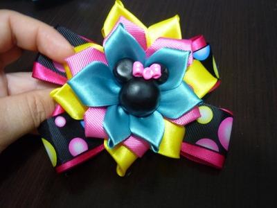 Tutoriales moños  y flores en cina gros y raso  para decorar peinados de  niñas  No.108