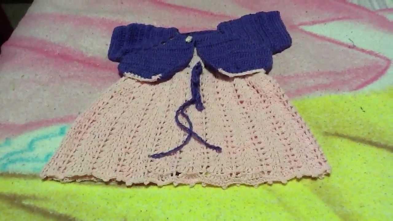 Vestido  para bebe a crochet o ganchillo