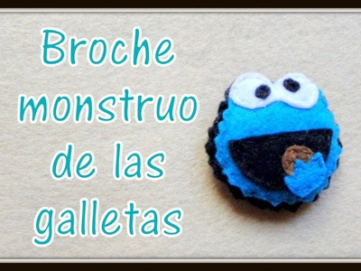 Broche de fieltro monstruo de las galletas - felt brooch Monster Cookies