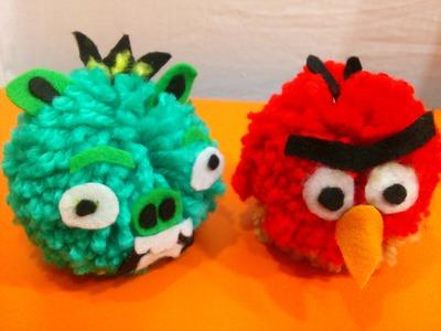 Como Hacer Muñecos de Lana de Angry Birds.Manualidades Caseras con Algodón.Pompones de Algodón.