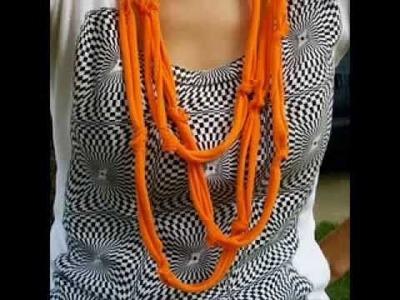 Como hacer un panuelo para el Cuello de trozos de camisetas de algodon.Reciclando.wmv.flv